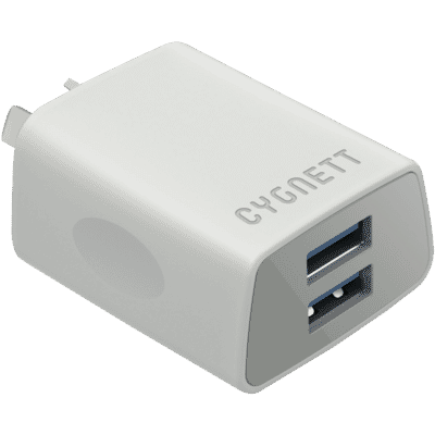 2.4A Dual USB Wall Charger - White